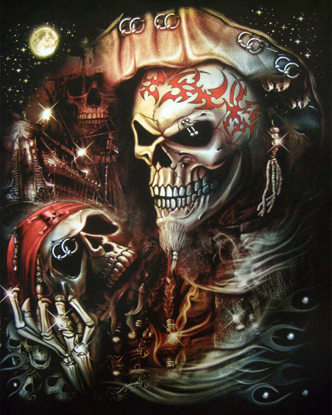 3d Piercing Pirate Skull T Shirt T Shirts Mens Tattoo Biker Rock