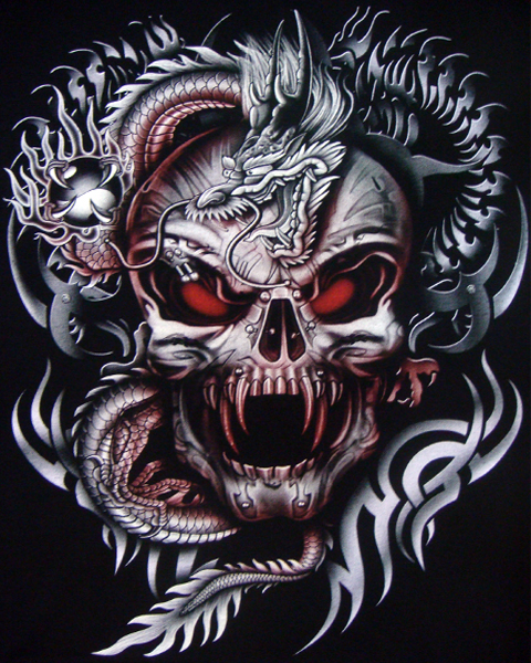 Dragon vampire skull t shirt t shirts mens tattoo for Vampire skull tattoo