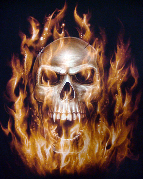 Flaming Vampire Skull T Shirt  Mens Shirts