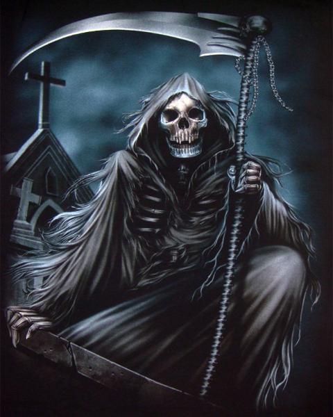 Screaming Grim Reaper T Shirt  Mens