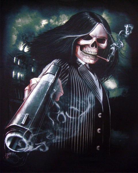 Skeleton Gangster Revolver T Shirt T Shirts Mens