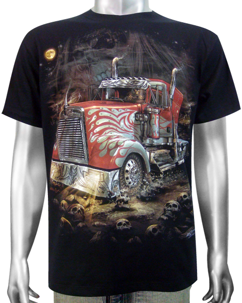 american semi truck t shirt t shirts mens tattoo biker rock. Black Bedroom Furniture Sets. Home Design Ideas