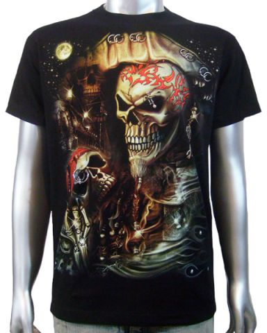 3D Piercing Pirate Skull T-shirt: click to enlarge