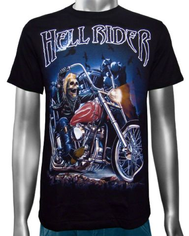 Hell Rider Biker Chopper T-shirt: click to enlarge