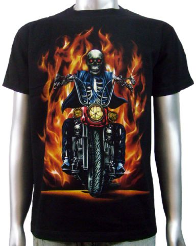 Skeleton Biker Chopper T-shirt: click to enlarge