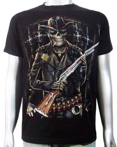 Skeleton Sheriff Shotgun T-shirt: click to enlarge