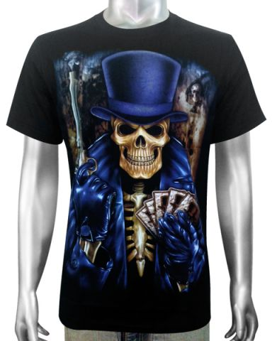 Skeleton Card Dealer T-shirt: click to enlarge