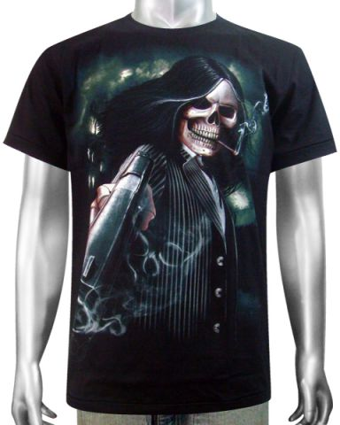 Skeleton Gangster Revolver T-shirt: click to enlarge