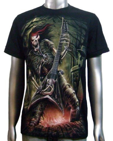 Skeleton Guitar Player T-shirt: click to enlarge