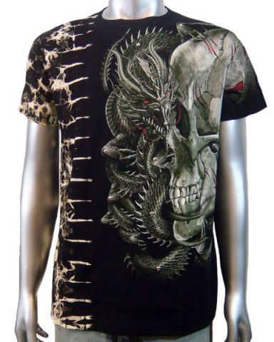 Skull & Chinese Dragon T-shirt: click to enlarge