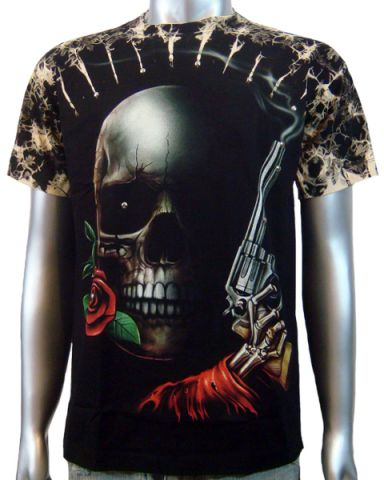 Skull Rose Handgun T-shirt: click to enlarge