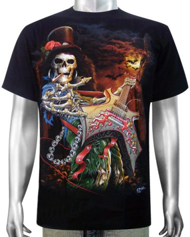Skeleton Bass Guitar T-shirt: click to enlarge