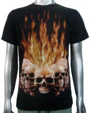 Flaming Tattoo Skulls T-shirt